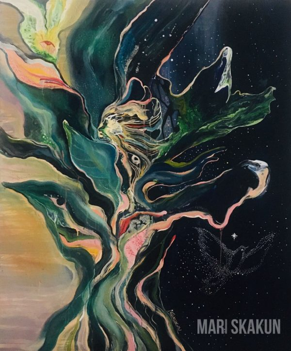 The Energy of the Tree oil acrylic painting